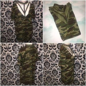 Forever 21 Khaki Army Long Top/Mini Dress Size S